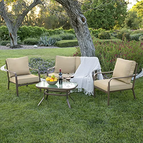 Best Choice Products 4-Piece Cushioned Patio Furniture Conversation Set  w/Loveseat, 2 - Patio Furniture Clearance Sales: Amazon.com