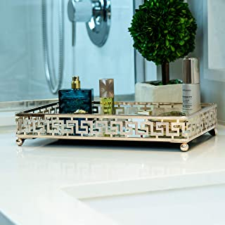 Lucaslo Glamor Gold Vanity Mirror Tray| Bathroom Organizer| Coffee Table Tray| Jewelry Tray| Makeup Storage| Bathroom Decor Acce