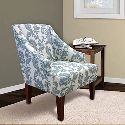 Armen Living LC2988CLGR iKat Accent Chair in Ikat Slate Fabric and Brown Wood Finish