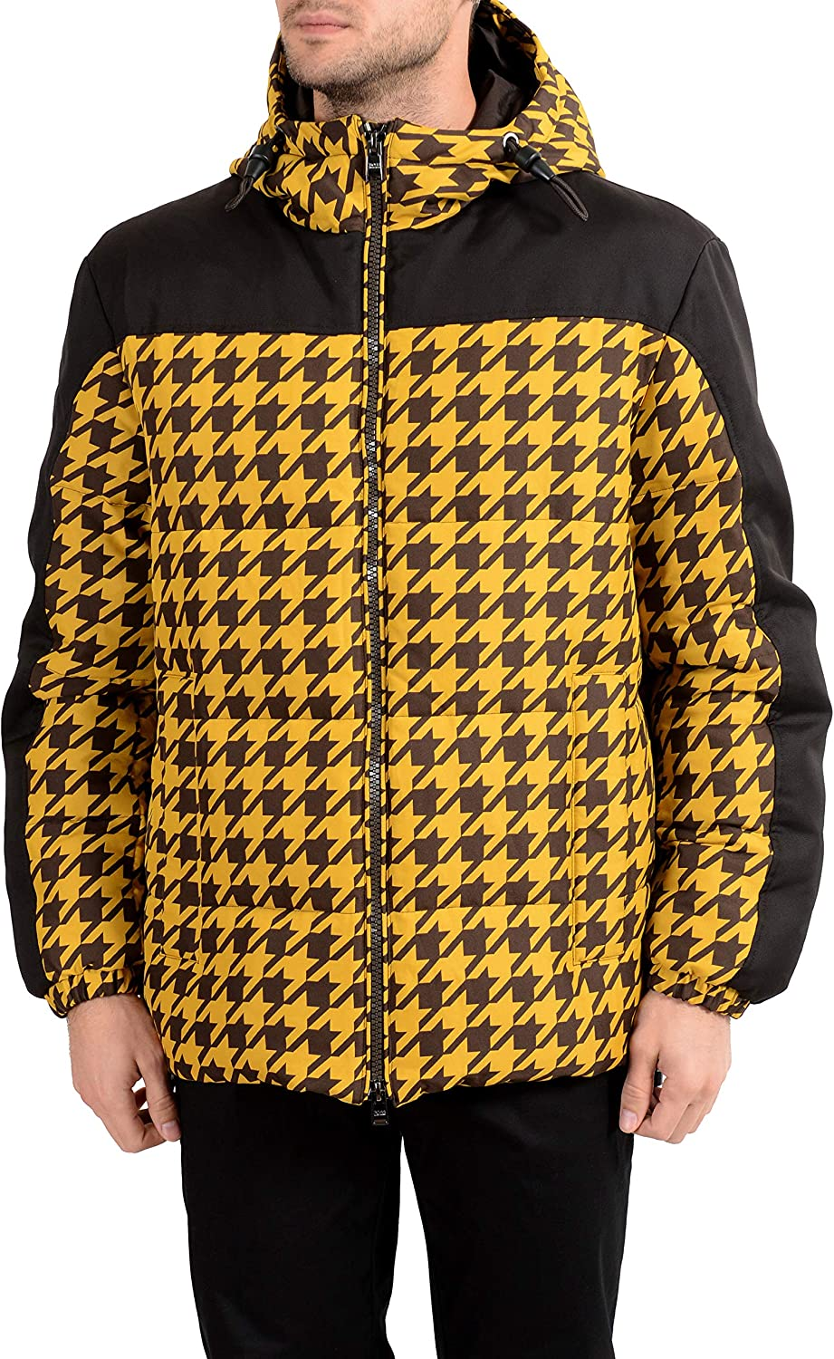 Hugo Boss Men's Dison Multi-Color Down Hooded Parka Jacket US S IT 48 Brown/Yellow