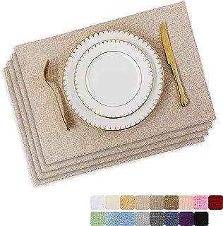 المفارش من هوم بريليانت مجموعة من 4 مفارش طاولة طعام مقاومة للحرارة وطاولة المطبخ وفرش طاولة المطبخ والكتان الخفيف