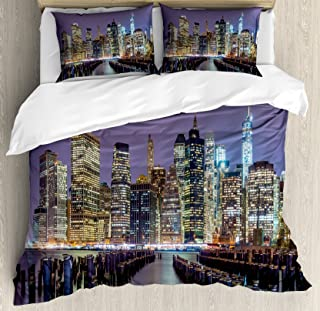 Lunarable New York City Duvet Cover Set, Lower Manhattan Skyline from Across The East River United States of America, Decorative 3 Piece Bedding Set with 2 Pillow Shams, Queen Size, Yellow Lilac