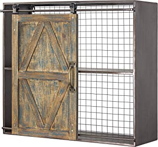 American Art Décor Rustic Wood and Metal Sliding Barn Door Storage Cabinet 2 Shelves