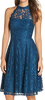 Eliza J womens Lace Halter Fit And Flare Dress Dress