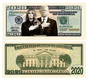 Pack of 5 - Donald and Melania Trump 2020 Re-Election Presidential Dollar Bill - Limited Edition Novelty Dollar Bill - Keep America Great - Best Gift for Lovers of Donald and Melania Trump