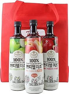 Korean CJ Petitzel Fruit Vinegar Drink Concentrate, 3 Bottle Set: Peach, Pomegranate and Green Apple, 91 Fl Ounces