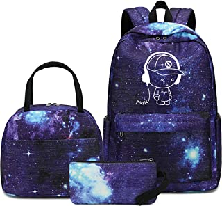 School Backpack Galaxy Teens Boys Kids luminous School Bags Bookbag with Lunch Tote and Pencil Case (E0076-Blue)