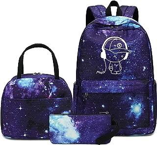 Canvas Students Backpack Casual School Bookbag for Teens Girls Boys (E0076-Blue)