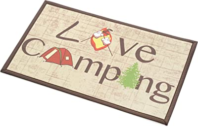 """Stephan Roberts Recycled Rubber Door Mat, 18"""" x 30"""", Love Camping"""