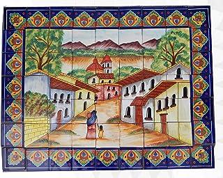 COLOR Y TRADICIÓN Mexican Talavera Mosaic Mural Tile Handmade Hand Painted Mexican Rustic Path # 40