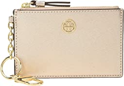 Tory Burch Robinson Metallic Card Case Key Fob