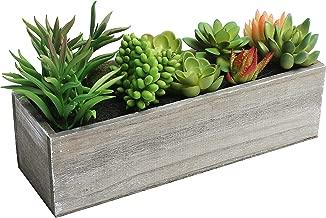 MyGift Artificial Mixed Succulent Plants in Rectangular Brown Wooden Planter Box
