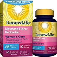 Renew Life #1 Women's Probiotic - Ultimate Flora Women's Care Shelf Stable Probiotic Supplement - Gluten, Dairy & Soy Free - 25 Billion CFU - 60 Vegetarian Capsules