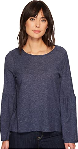 b3fb3a06656442 TWO by Vince Camuto. Bell Sleeve Refined Herringbone V-Neck Shirt.   20.09MSRP   99.00. Indigo Night Heather