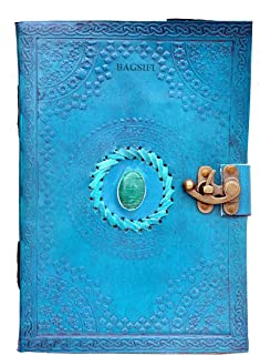 $32 » Handmade Leather Semi-Precious Stone Embossed Ocean Journal Blank Book of Shadows|Notebook Office Diary|College Book|Poetr...