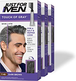 Just For Men Touch of Gray, Gray Hair Coloring for Men with Comb Applicator, Great for a Salt and Pepper Look - Dark Brown...