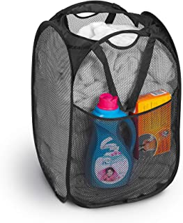 Smart Design Deluxe Mesh Pop Up Square Laundry Hamper w/ Side Pocket & Handles - VentilAir Fabric Collapsible Design - for...