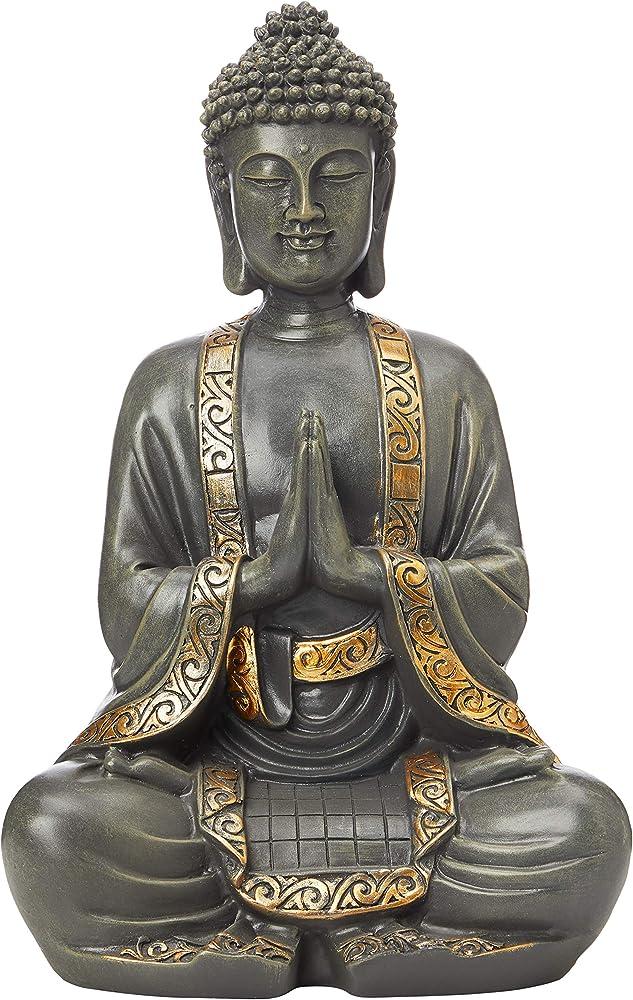 Zen `light, statua di buddha in meditazione, in resina color bronzo, misure 37.5 x 24 x 15 cm