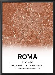 Mappa Citta' Personalizzata con Cornice - Quadro varie dimensioni vari colori Made in Italy Poster Mod.A col2