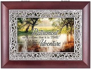 Retirement Wooded Pond Scene Ornate Rosewood Jewelry Music Box Plays Wonderful World