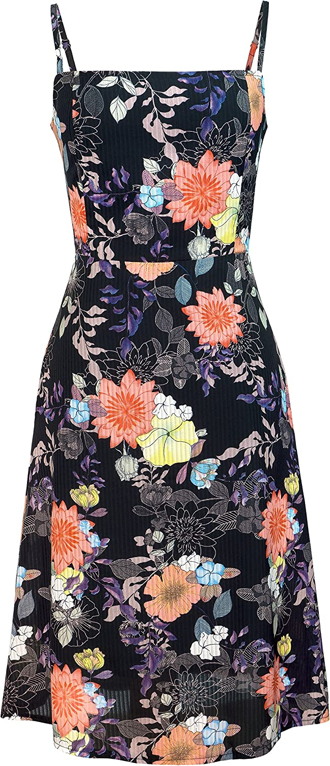 Closet Convention Fit & Flare Black Floral aline midi Dress with Pockets, Straight Neckline and Adjustable Straps