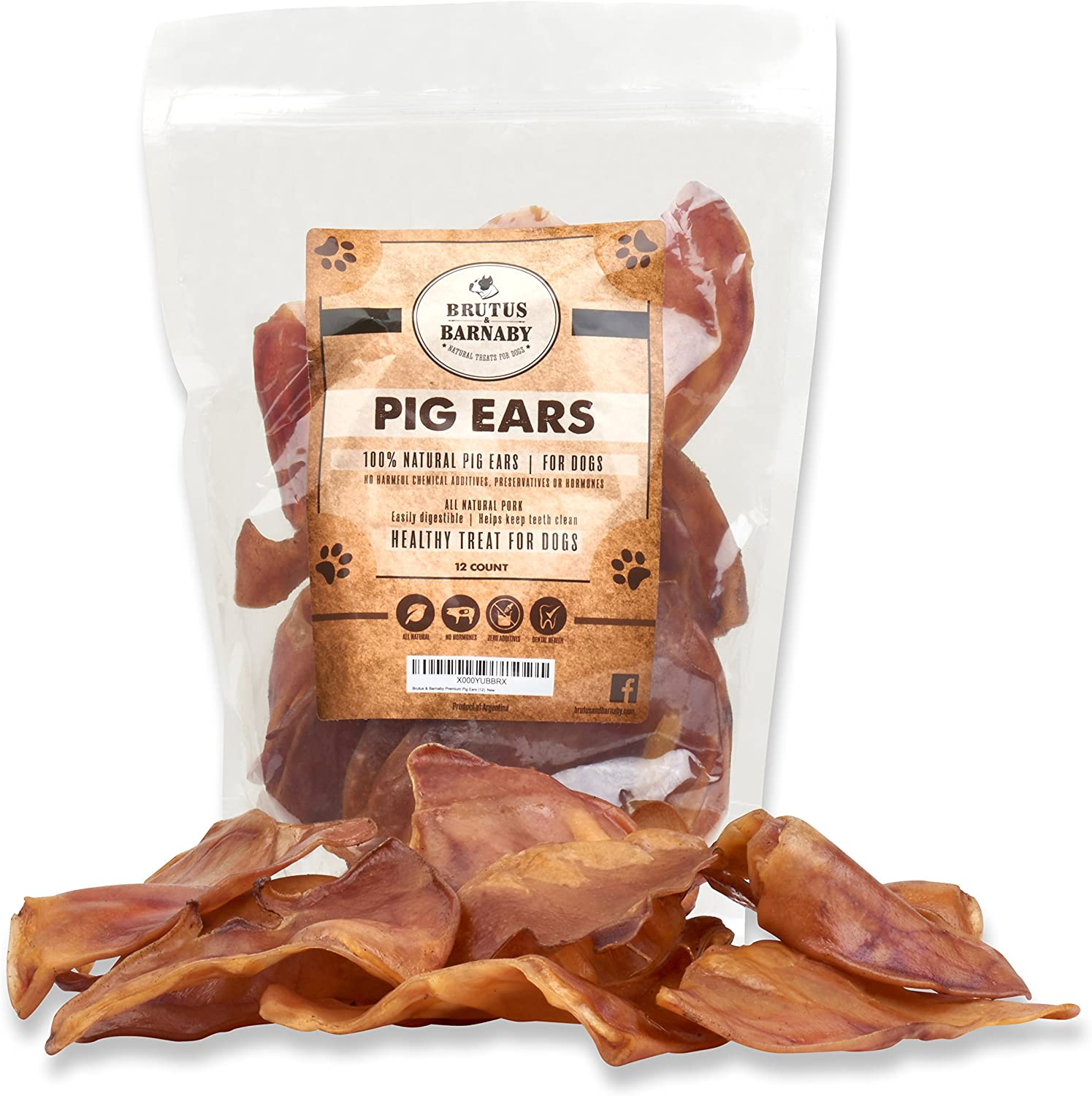 100% Natural Whole Pig Ear Dog Treat, Brutus *Barnaby's Healthy, Puro Pork Ear è facilmente digeribile senza aggiunta di colori, sostanze  miche o ormoni