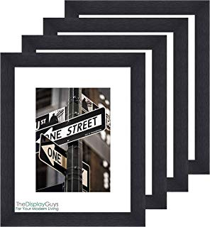 """The Display Guys ~ 4 Sets 8x10 inches Black Wooden Photo Frame, Tempered Glass, Luxury Made Affordable 1pc White Mat Board 5""""x7"""" Picture"""
