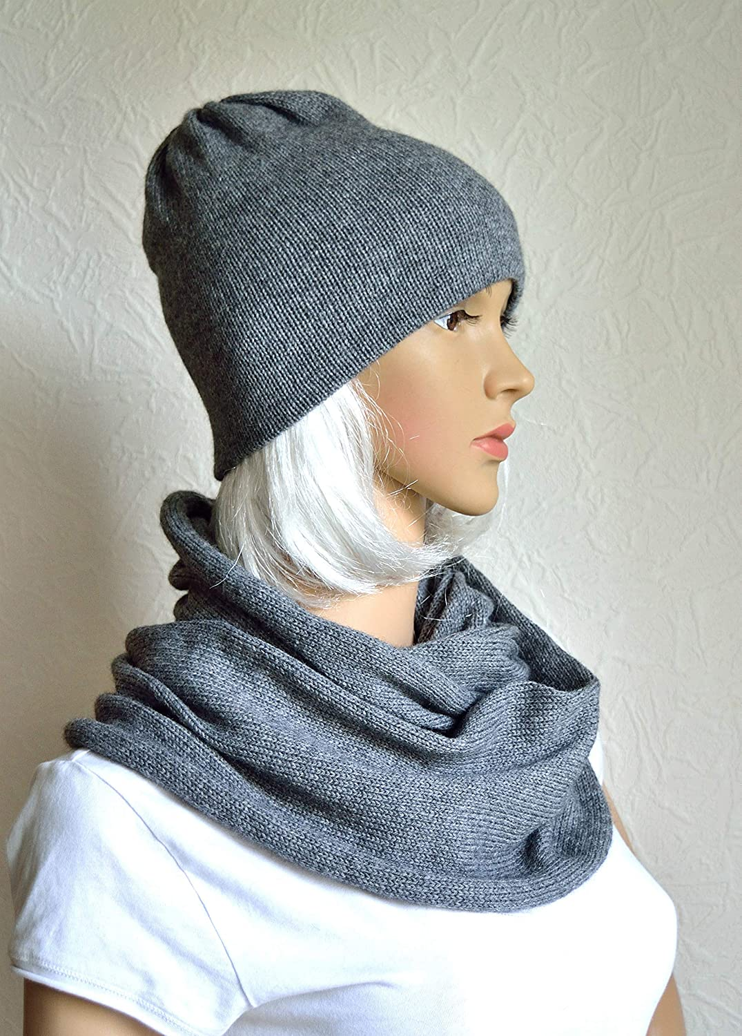 Hand made 100% cashmere Our shop Choice most popular women's scarf snood set hat