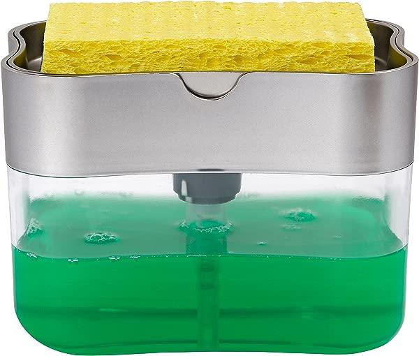 STS 592401 Soap Pump Dispenser And Sponge Holder 13 Ounces Silver