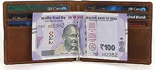 Le Craf Cognac RFID Blocking Cognac Front Pocket Slim Mens Genuine Leather Money Clip Wallet