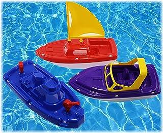 Matty's Toy Stop Plastic Boats Set Sailboat (Red) Speedboat (Purple) & Fireboat (Blue) Gift Set Bundle Perfect Bath Pool B...