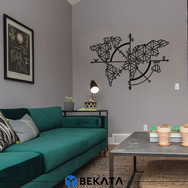 Bekata Metal Wall Art Collection For Living Room World Map And Compass Themed Wall Decor Home Gift Housewarming Gift Wedding Gift Small Size 38 Inc X 27 Inc