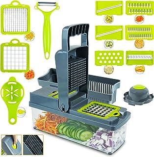 UZMIS Vegetable Chopper Mandoline Slicer Onion Chopper, 14 in 1 Vegetable Fruit Slicer Cutter Dicer and Grater with Contai...