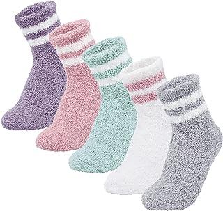 ANGUYA, Calcetines mullidos de mujer Calcetines de lana de coral cálido Medias de felpa lindas para dormir en el interior de invierno en casa