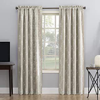 Sun Zero Laurita Floral Embroidery Theater Grade Extreme 100% Blackout Rod Pocket Curtain Panel, 52