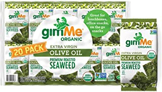 gimMe Snacks - Organic Roasted Seaweed - Extra Virgin Olive Oil - (.17oz) - (Pack of 20) - non GMO, Gluten Free, Keto, Pal...