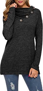 Womens Long Sleeve Button Cowl Neck Casual Loose Tunic Tops Blouse