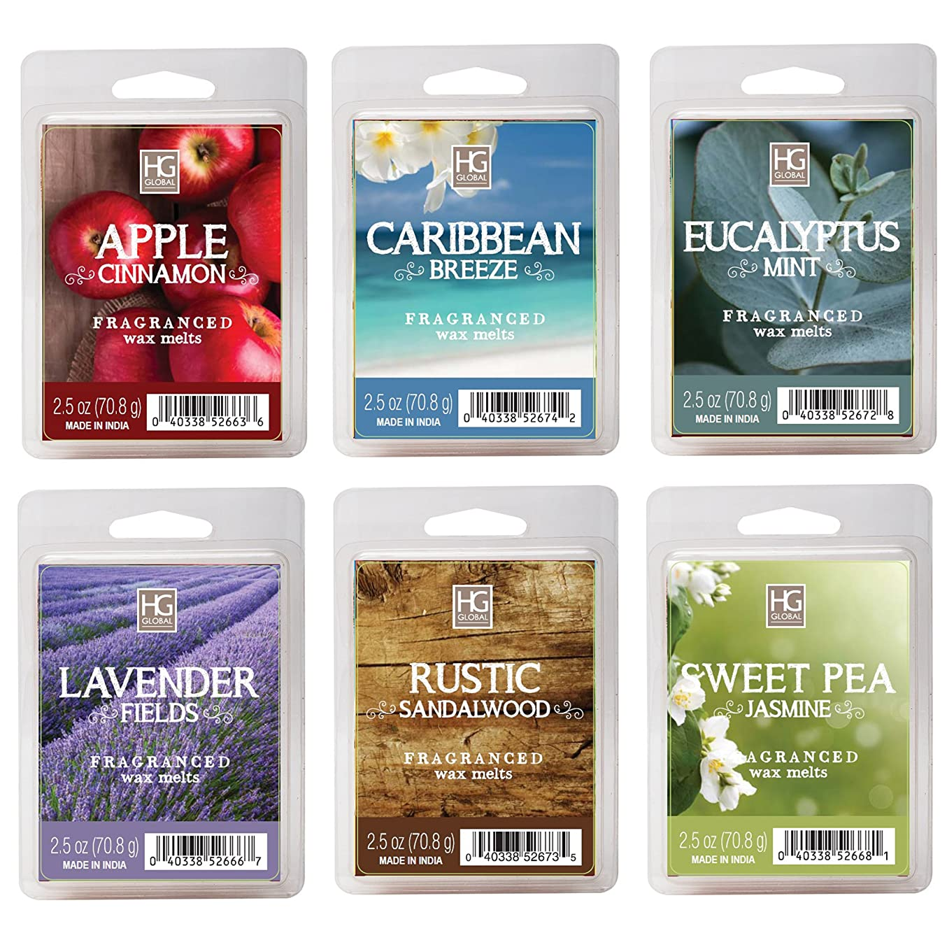 Hosley Set of 6 Assorted Wax Cubes / Melts / Tarts - 2.5 oz each. Apple Cinnamon, Caribbean Breeze, Eucalyptus Mint, Lavender Fields, Rustic Sandalwood, Sweet Pea Jasmine. Ideal GIFT