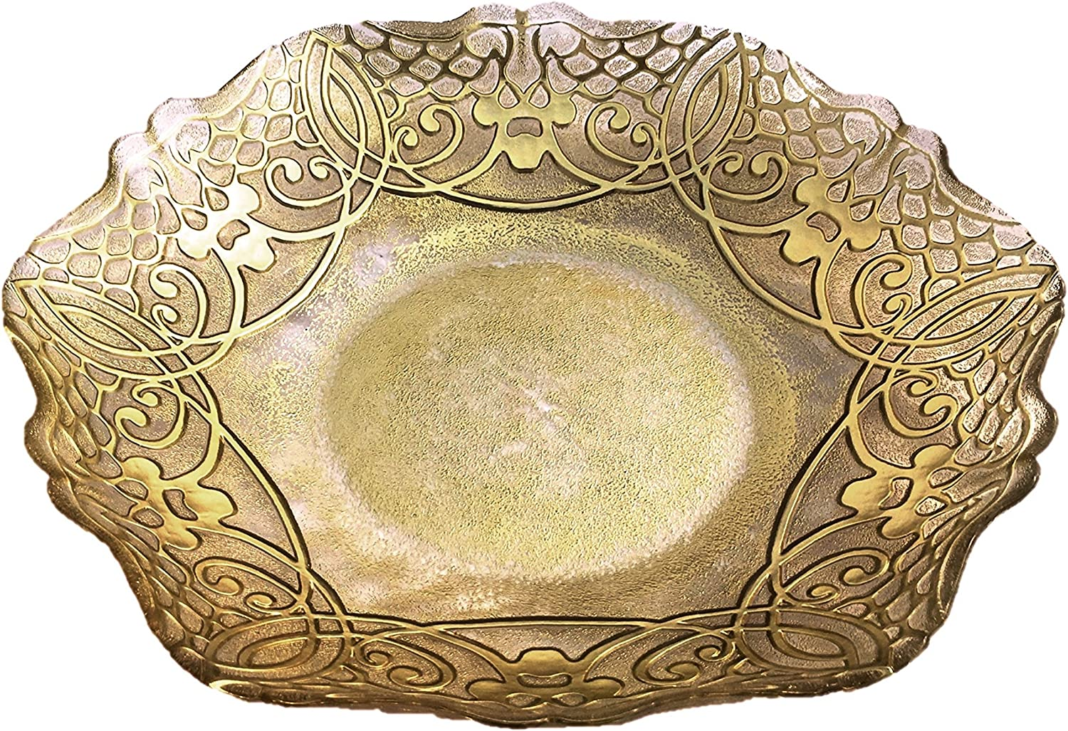 Red Pomegranate Geneve Large 16-Inch Gold Bowl Shallow Max 55% Indefinitely OFF