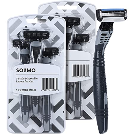 Amazon Brand - Solimo 3-Blade Disposable Razors for Men, 6 count (2 packs of 3)