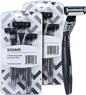 Solimo 3-Blade Disposable Razors for Men, 6 count (2 packs of 3)