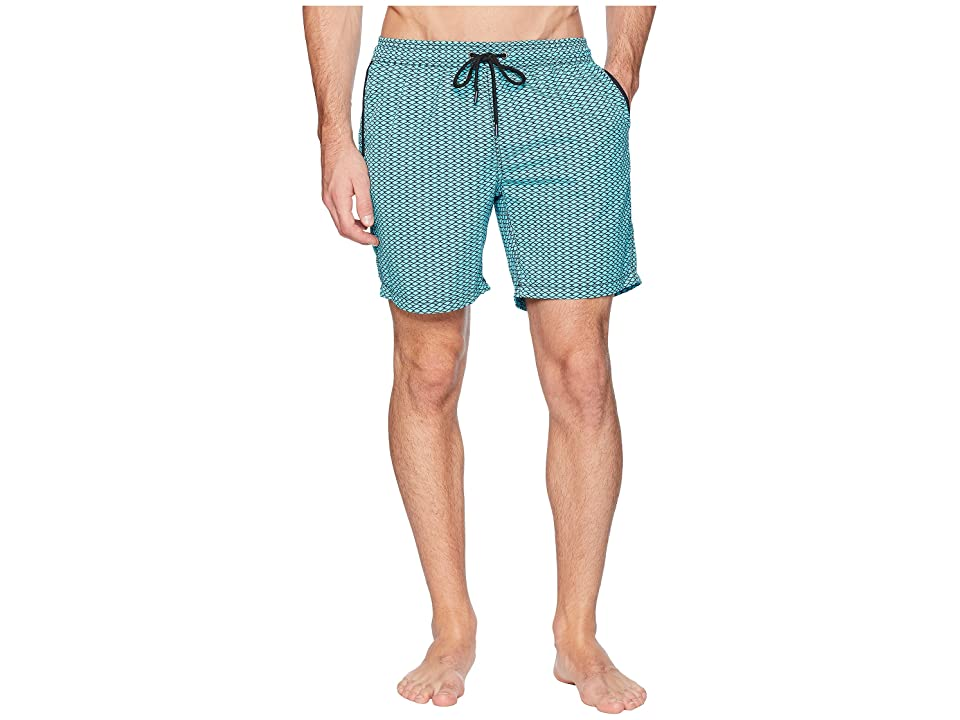 Mr. Swim Diamonds Elastic Printed Swim Trunk (Turquoise) Men
