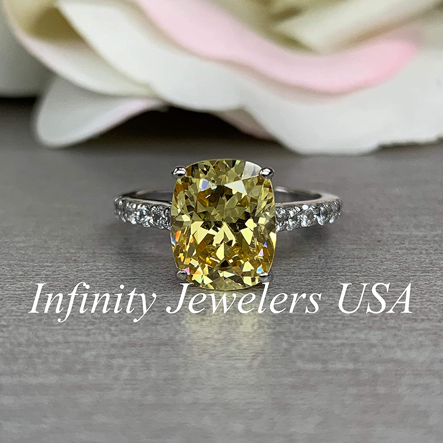 Canary Yellow Engagement Ring/Elongated Cushion Cut With Round Accents / 14k White Gold / #5578