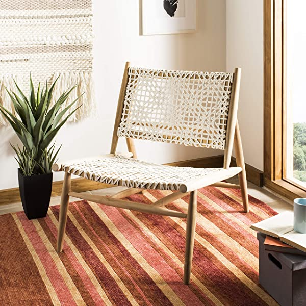 Safavieh ACH1000A Home Collection Bandelier Leather Weave Off White And Natural Accent Chair Off