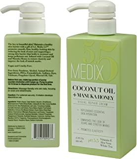 Medix 5.5 Coconut Oil Cream and Manuka Honey. Moisturizing Repair cream rehydrates skin. Great for scar and stretch marks. (Two - 15oz)