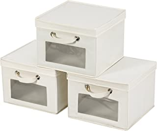MaidMAX Closet Storage Cube with Clear Window, Lid and 2 Handles for Shelves, Foldable, Beige, Set of 3