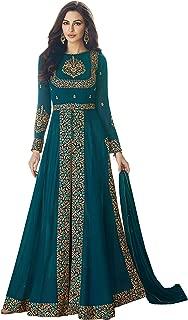 Bipolar Life Women's Faux Georgette Pakistani A-line Semi Stitched Salwar Suit (Free_Size) (Firozi)
