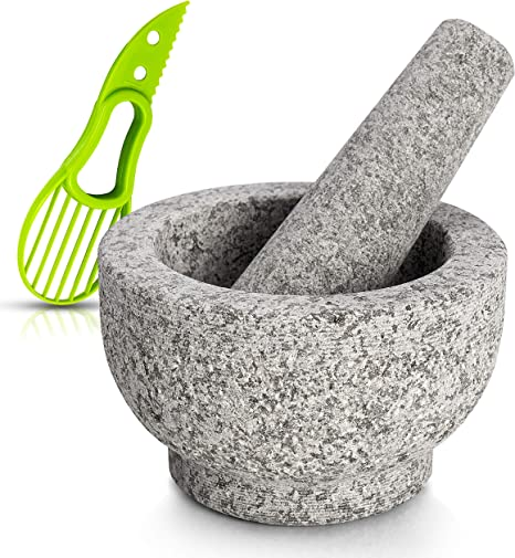 Amazon Com Mortar And Pestle Set Made Of 100 Granite Large Natural Food Grinder And Spice Grinder For Kitchen Serve Dishes Beautifully At The Table With Avocado Slicer Polished Mortar Pestle Pitted Granite