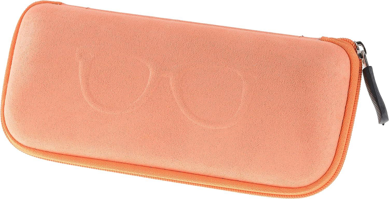 Semi Hard Shell Zippered Eyeglass Case Clamshell Fits Large Frames, Sunglasses for Women Men – Orange, Brown, Pink, Black