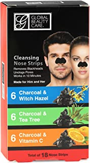 Global Beauty Care 18 Nose Cleansing Strips VARIETY PACK Charcoal with Tea Tree, Witch Hazel, & Vitamin C For Blackheads R...
